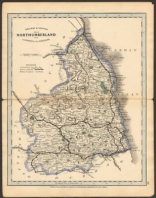 1864 Antique Map- Railway And Stations, Northumberland, Woller,Morpeth,Hexham