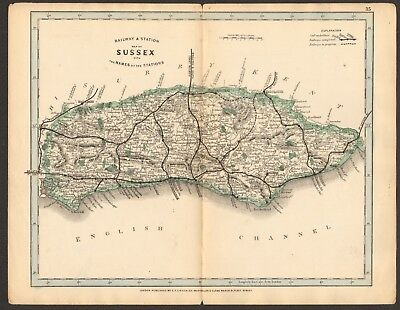 1864 Antique Map- Railway And Stations, Sussex, Lewes, Brighton, Midhurst