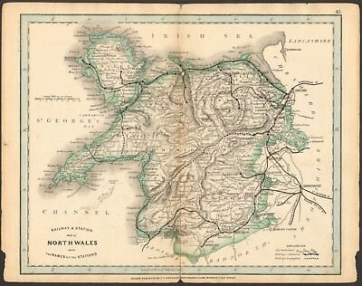 1864 Antique Map- Railway And Stations, North Wales, Anglesey, Lleyn, Llandiloes