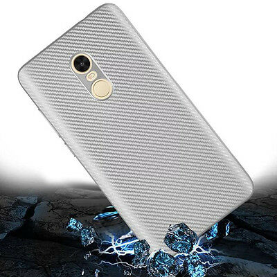 Silver Carbon Fiber Soft TPU Silicone Thin Case Cover For Various Mobile Phones