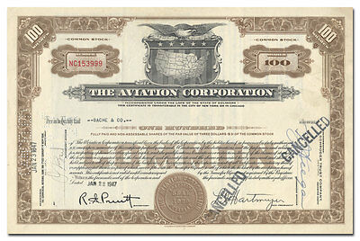 The Aviation Corporation Stock Certificate (Neat Vignette)