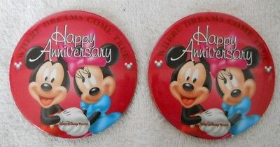 Disney WDW VINTAGE Happy Anniversary 2 Buttons Where Dreams Come True Pin NEW