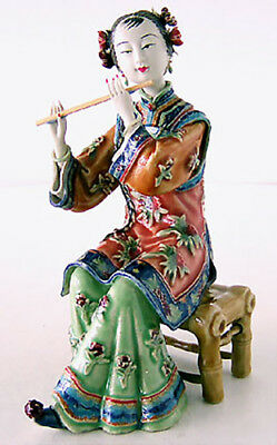 Chinese Oriental Lady Porcelain Doll Figurine Flautist Musician