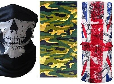 Skull Camo Union Jack Camoflage Mask Bandana Motorcycle Neck Warmer Uk Flag