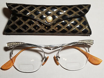 50's Cat's Eye Rhinestone Glasses, Bausch & Lomb, with Original B&L Case