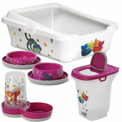 Pink Cat Kitten Starter Kit Pack Set Food Storage Litter Box Bowls & Feeder Tray