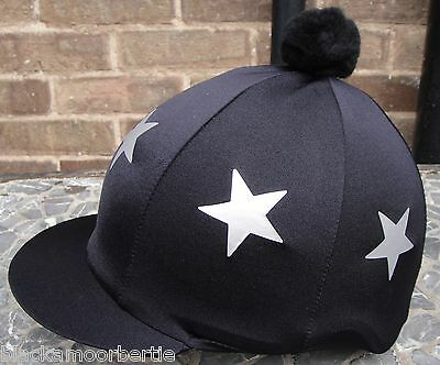 Riding Hat Silk Skull cap Cover BLACK * LARGE SILVER STARS With OR w/o Pompom