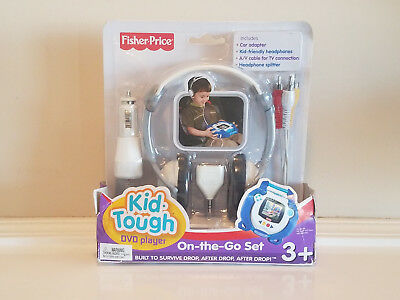 Fisher Price Kid Tough DVD Player On-The-Go Set (adapter, splitter, headphones)