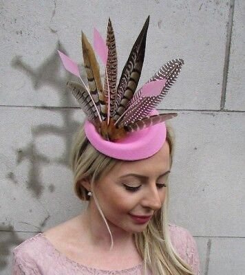 Light Pink Pheasant Feather Pillbox Hat Fascinator Races Hair Clip Ascot 5476