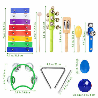 15pcs Percussion Set Wooden Kids Children Toddlers Music Instruments Kit Toys