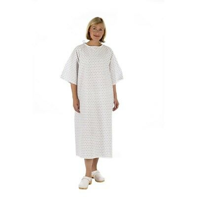 Unisex NHS Wrap Over White Hospital Patient Gown, Reusable Night Dress UK Stock