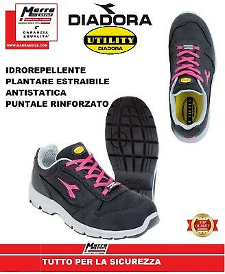 SCARPE SCARPA ROSA SHOES ANTINFORTUNISTICA DIADORA UTILITUY RUN LOW DONNA LADY