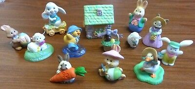 Lot of 13- EASTER MERRY MINIATURES-1988, 1990's Cottage, Bunnies, Ducks, Lamb +
