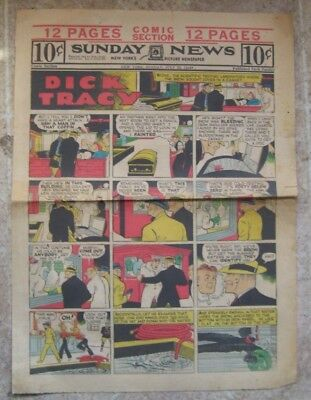 Sunday Funnies  DICK TRACY newspaper full page strip/ WILSON 1944 movie ad
