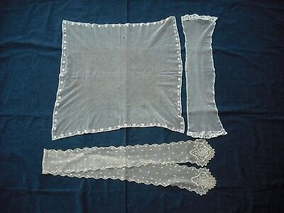 Antique/vintage net & embroidery wedding veil and two small shawls/lappet etc H9