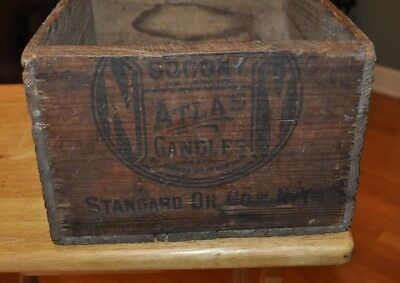 Vintage Socony Standard Oil Co Wood Wooden Shipping Crate Box Atlas Candies
