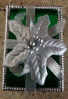 Avon Vintage Green Rectangle All Wrapped Up For Christmas Ornament