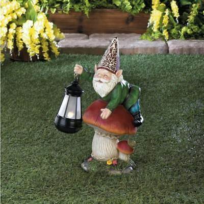 GARDEN STATUES GNOME Collectors Gift Mushroom WITH SOLAR Powered Walkway  LIGHT