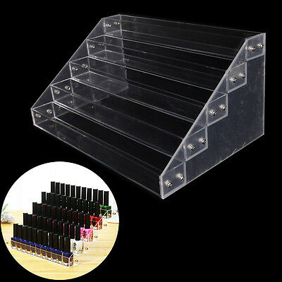 Makeup Nail Polish Display Stand Organizer Clear Holder Rack Acrylic 5 Tiers V6