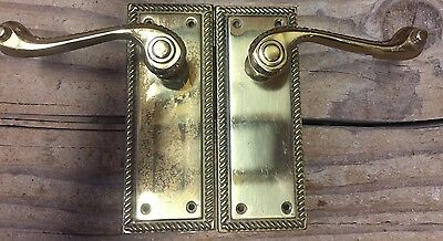 2 Vintage Solid Brass Door Lever Handle Backplate Architectural Salvaged Antique
