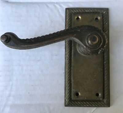 Antique Solid Brass Door Lever Handle Backplate Architectural Salvaged Vintage