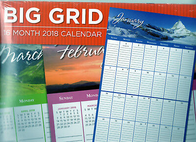 2018 BIG GRID Large PRINT 16 Month Lined WALL CALENDAR PLANNER NATURE EASY READ