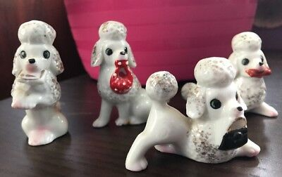 Vintage White & Gold  Poodle Bone China  Figurines Set OF 4 SIGNED Japan