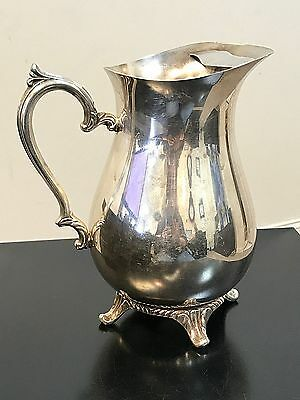 VINTAGE Silver Plated WM ROGERS 817 Footed Water Pitcher With ICE GUARD