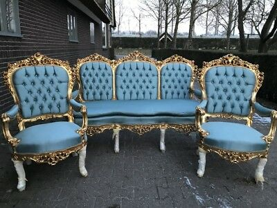 Antique French Louis Xvi Living Room Set: Sofa/settee With 2 Chairs