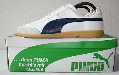Vintage Puma TOP WINNER UK7 EU41 White/Navy Blue ITALY made 80s athletic trainer