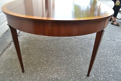 1930's Oval Mahogany & Satinwood Regency Dining Table, 2 leaves