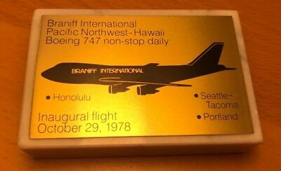 BRANIFF Airlines Inaugural Flight Seattle-Portland-Honolulu 1978 Desk Plaque