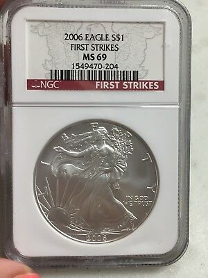 2006  American Silver $1 Dollar Eagle First Strikes  Ngc Ms 69