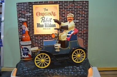 Vintage Pabst Blue Ribbon Beer Motion Lighted Sign with Jalopy