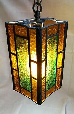 Mcm Vintage Stained Glass Hanging Lamp 28 00 Picclick