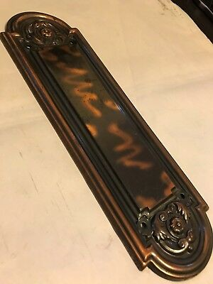 Antique Arts Craft Deco Victorian Copper Wash Brass Plated Swing Door Push Plate