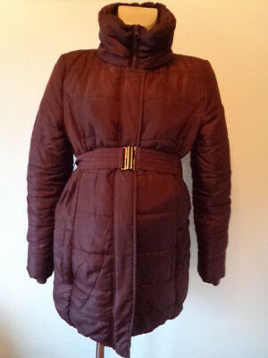 Mama-Licious Maternity Burgandy Quilted Belted Coat Jacket Size M 10-12