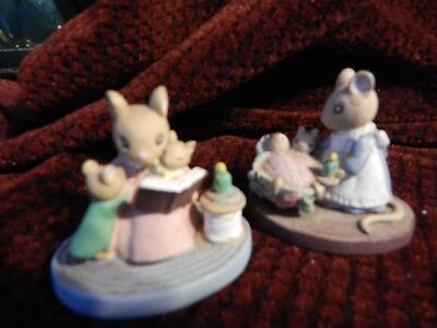 2 Forest Friends Miniature Figurines Mice/storytime and bedtime