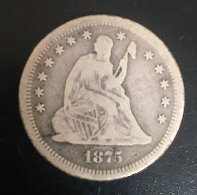 1875S Seated Liberty Silver Quarter