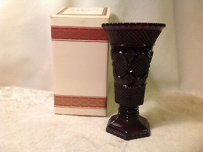 AVON 1876 Cape Cod Collection Royal RUBY RED Large VASE & Original Box