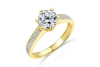 2.50 Ct Engagement Wedding Ring Real 14K White Yellow Gold Diamond Simulation