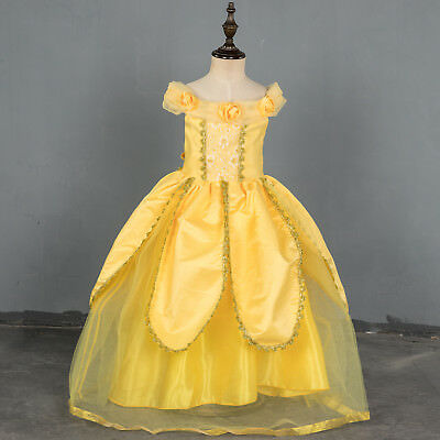 US STOCK  Girls Beauty and the Beast Princess Belle Party Gown Pageant Dress O18