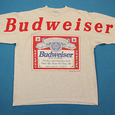 VINTAGE 90s Budweiser Big Spell Out Logo Beer Advertising Party Tee T Shirt L
