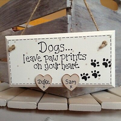 Personalised Cat / Dog lover sign plaque gift - Paw Prints on your Heart