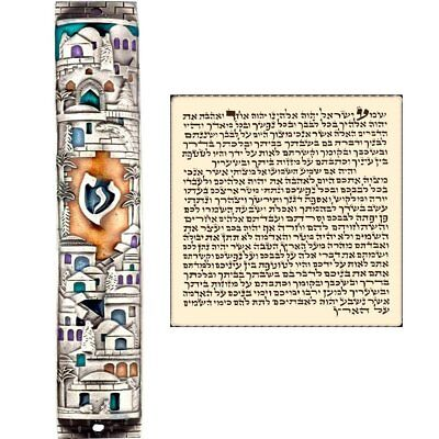 Sterling silver mezuzah pendant with scroll shema israel jewish silver enamel jewish mezuzah case with scroll jerusalem israel judaica door 5 mozeypictures Images