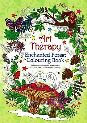 Art Therapy Enchanted Forest Colouring Book. Childrens Adult Stress Relief Gift