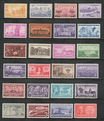 US Postage Stamps 3 Cent Vintage Collection Of 25 Stamps 60-70 Years Old (V-11)