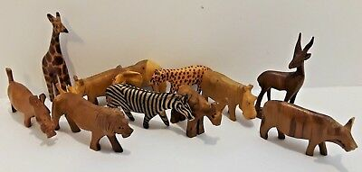 Vintage Folk Art Hand Carved Wooden Lot of 11 Safari Africa Animals