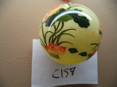 "Oriental Christmas Tree Balls,  Hand Painted Glass 3"" : Flowers, Birds, etc. NIB"