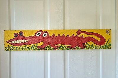 John Sperry Primitive Outsider Southern Folk Art painting Mixed Media Gator